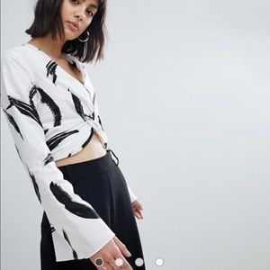 River Island cropped top with bell sleeves